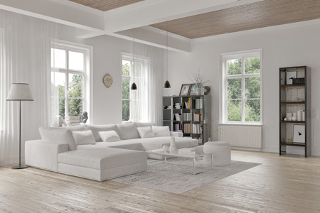 living room window: Modern loft living room interior with monochromatic white decor, a comfortable modular lounge suite and rug and accent bookcases with structural ceiling beams