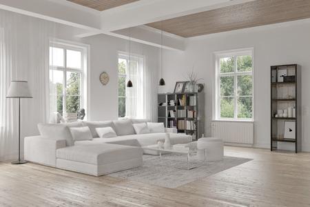 Modernen Loft Wohnzimmer Innenraum mit einfarbigen wei�en Dekor, einem komfortablen modularen Sitzgruppe und Teppich und Akzentb�cherregale mit strukturellen Deckenbalken