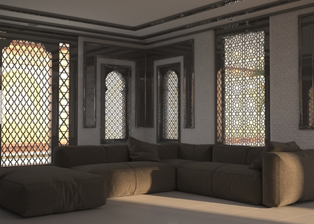 Living room interior at street level with ornate window grills and a corner unit comfortable brown modular lounge suite