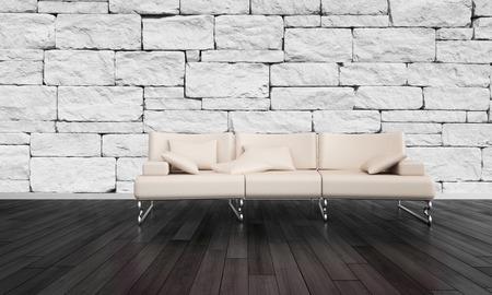 미니멀 거실 인테리어 돌 벽돌 악센트 벽과 어두운 나무 마루와 소박한 방에 세련된 긴 의자