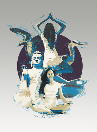 enlightenment: Artistic collage of a woman practicing yoga showing her in the lotus position and balancing on one leg with a statue of a seated Buddha and wild birds depicting harmony and enlightenment