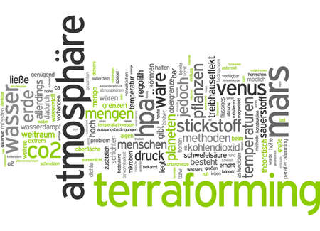 Word cloud of terraforming challenges in German language Stock Photo