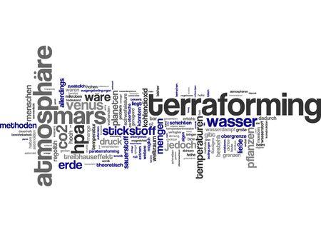 borden: Word cloud of terraforming challenges in German language Stock Photo