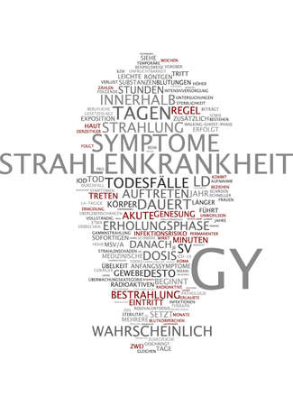 radiotherapy: Word cloud of radiation sickness in German language Stock Photo