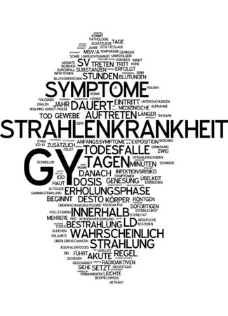 gamma radiation: Word cloud of radiation sickness in German language Stock Photo