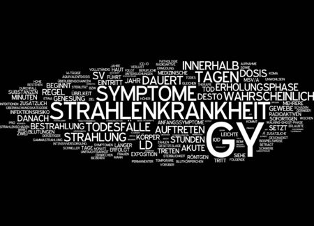 gamma radiation: Word cloud of radiation sickness in German language Stock Photo