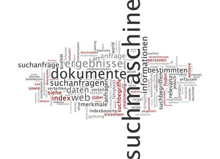 seach: Word cloud of seach engine in German language Stock Photo