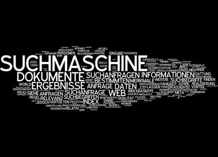 seach: Word cloud of seach engine in German language Stock Photo