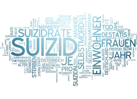 conventional: Word cloud of suicide in German language Stock Photo