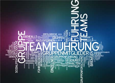 Word cloud of team leadership in German language