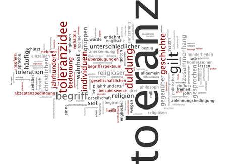 tolerance: Nube de palabras de la tolerancia en lengua alemana