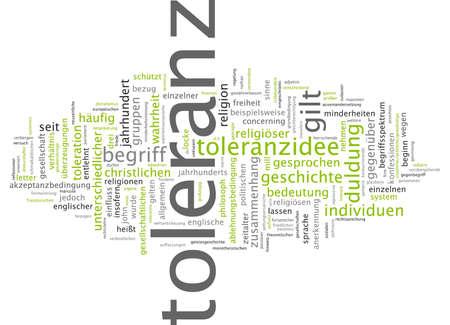 tolerance: Word cloud of tolerance in German language