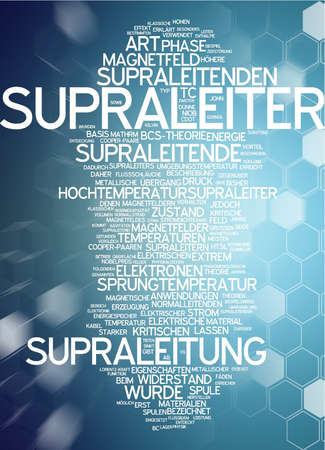 superconductor: Word cloud of superconductor in German language Stock Photo