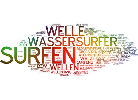 rafter: Word cloud of water surfer in German language Stock Photo