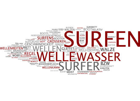 rafter: Word cloud of water surfer in German language Stock Photo