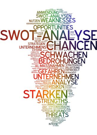 weaknesses: Word cloud of swot analysis in German language