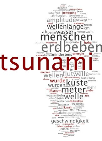 human factors: Word cloud of tsunami in German language Stock Photo