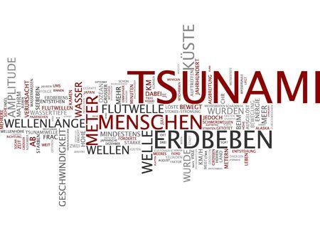 tsunami: Word cloud of tsunami in German language Stock Photo