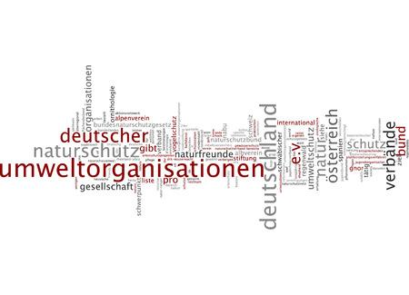 Word cloud of environmental organizations in German language Stock Photo
