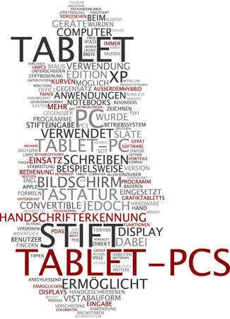 dissemination: Word cloud of tablet pc in German language