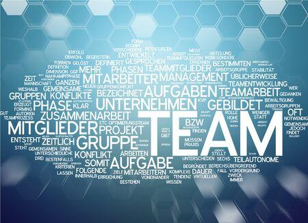 Word cloud of team in German language Stock Photo