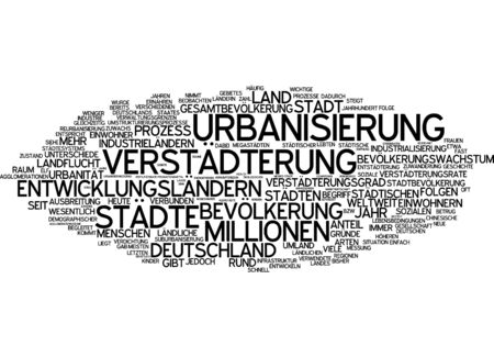 urbanization: Word cloud of urbanization in German language