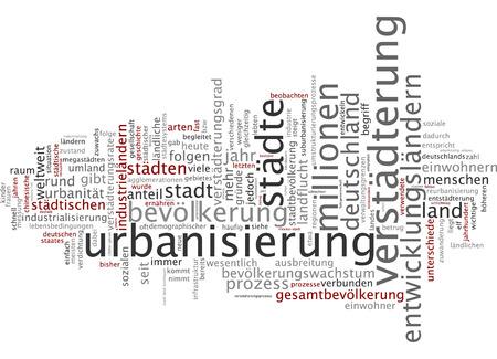 spread the word: Word cloud of urbanization in German language