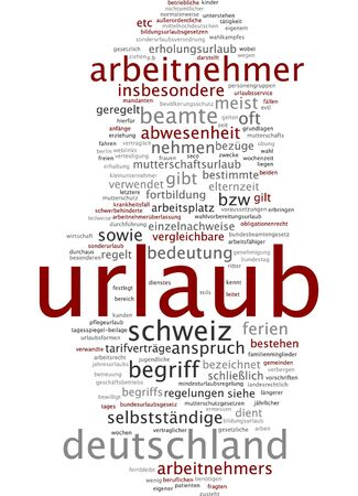 maternity leave: Word cloud of holiday in German language