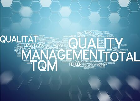 Word cloud of total quality management in German language Stock Photo