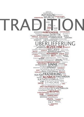 traded: Word cloud of tradition in German language Stock Photo
