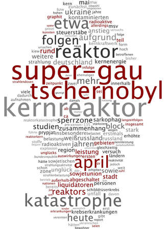 meltdown: Word cloud of chernobyl nuclear meltdown in German language Stock Photo