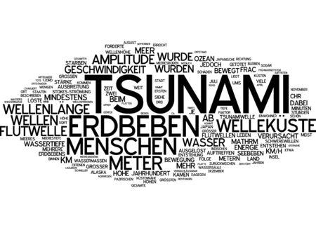 amplitude: Word cloud of tsunami in German language Stock Photo