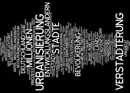 urbanization: Word cloud of urbanization in German language