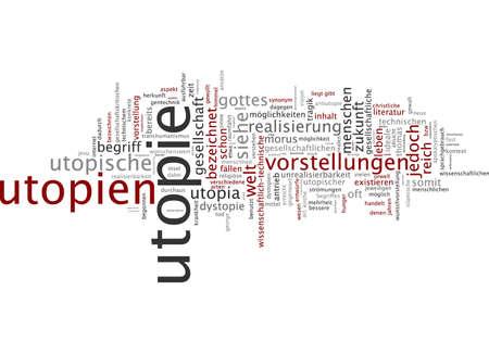 utopian: Word cloud of utopia in German language