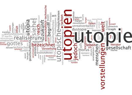 Word cloud of utopia in German language