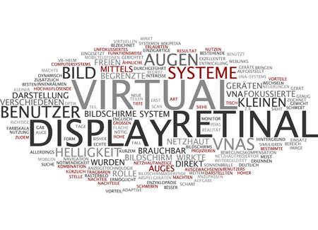 display retina: Word cloud of virtual retinal display in German language