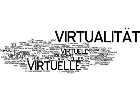 by virtue: Word cloud of virtuality in German language