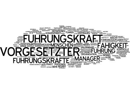 competencies: Word cloud of boss in German language Stock Photo