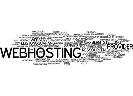 networked: Word cloud of webhosting in German language