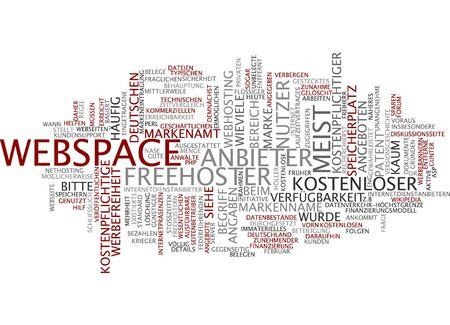 webhosting: Word cloud of webspace in German language