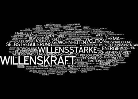 realization: Word cloud of willpower in German language