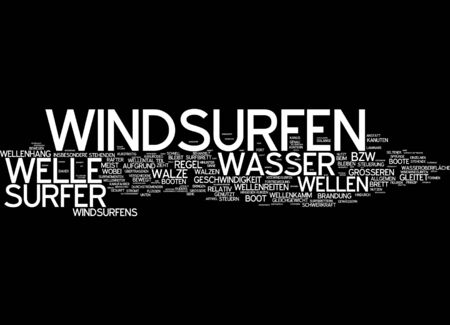 realization: Word cloud of windsurfing in German language