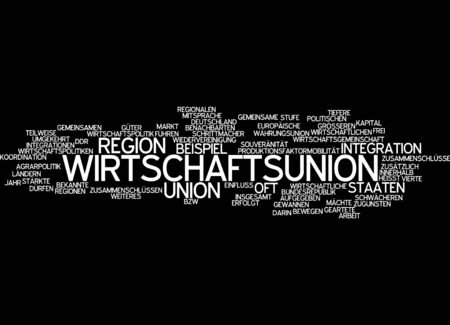 reversed: Word cloud of economic union in German language Stock Photo