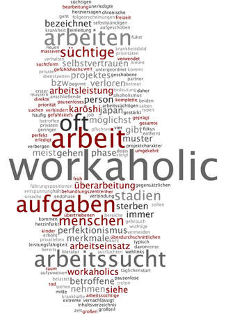 Word cloud of workaholic in German language Stock Photo