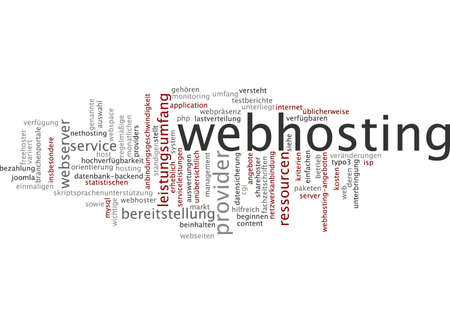 webserver: Word cloud of webhosting in German language