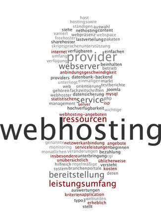 webhosting: Word cloud of webhosting in German language
