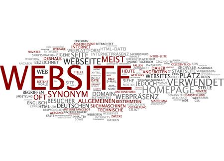 web presence internet presence: Word cloud of website in German language