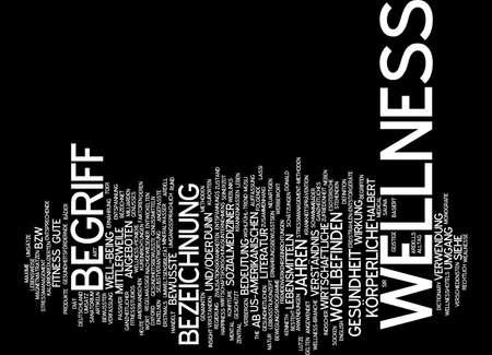 vertical wellness: Word cloud of wellness in German language Stock Photo