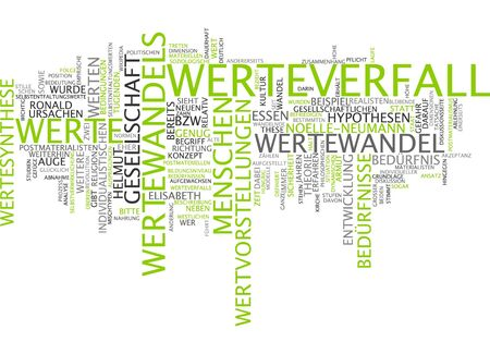 decaying: Word cloud of decaying values in German language Stock Photo