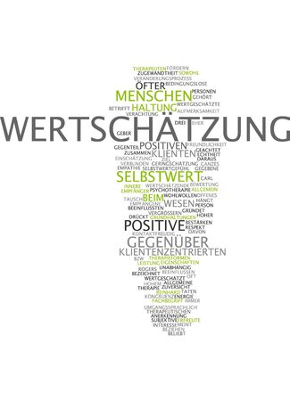 esteem: Word cloud of esteem in German language